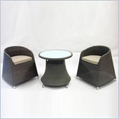Armen Living 3 Piece Outdoor Dining Set in Gray Woven Rattan