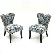 Armen Living Modern Alpha Letters Fabric Accent Chair (Set of 2)