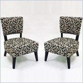 Armen Living Modern Geometric Fabric Accent Chair (Set of 2)