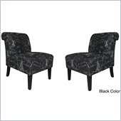Armen Living Modern Black Architectural Fabric Accent Chair (Set of 2)