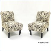 Armen Living Modern Cream Architectural Fabric Accent Chair (Set of 2)
