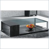 Armen Living Glass Top Coffee Table in Wenge