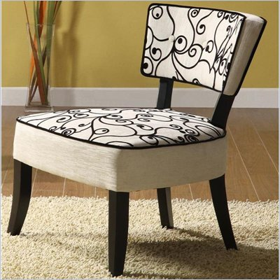Armen Living Ashbury Club Chair in Black and White