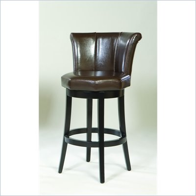 "Armen Living Barcelona 26"" Swivel Barstool in Brown Leather"