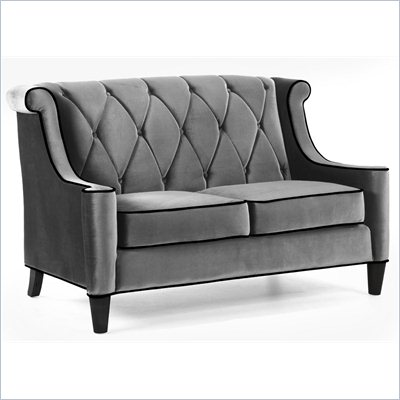 Armen Living Barrister Velvet Loveseat in Gray