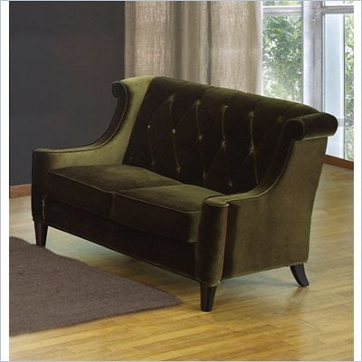 Armen Living Barrister Velvet Loveseat in Green
