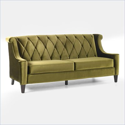 Armen Living Barrister Velvet Sofa in Green