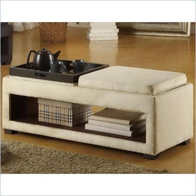 Armen Living Cancun Microfiber Double Tray Storage Bench in Cream