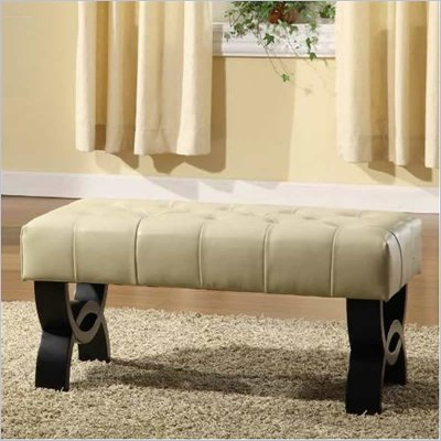 Armen Living Central Park Tufted 36 Inch Leather Ottoman in Cream