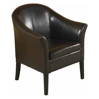 Armen Living 27 Inch Leather Club Chair in Brown
