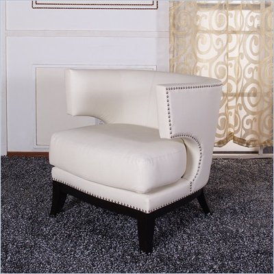 Armen Living Eclipse Vinyl Club Chair in Cream