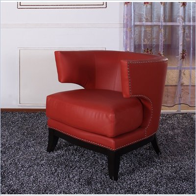 Armen Living Eclipse Vinyl Club Chair in Red