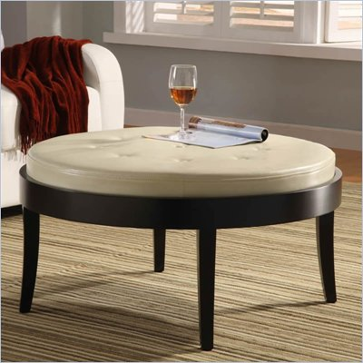 Armen Living Citation Round Leather Cocktail Ottoman 