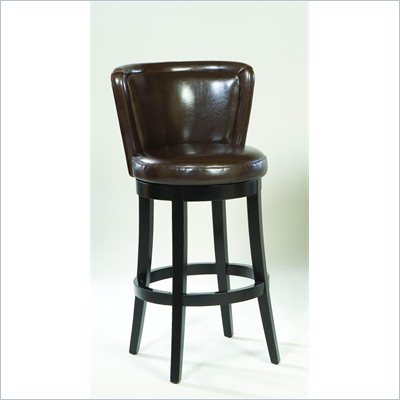 Armen Living Lisbon 26&quot; High Brown Leather Swivel Counter Stool