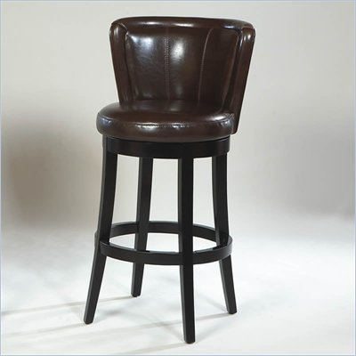 Armen Living Lisbon 30&quot; High Brown Bycast Leather Swivel Bar Stool