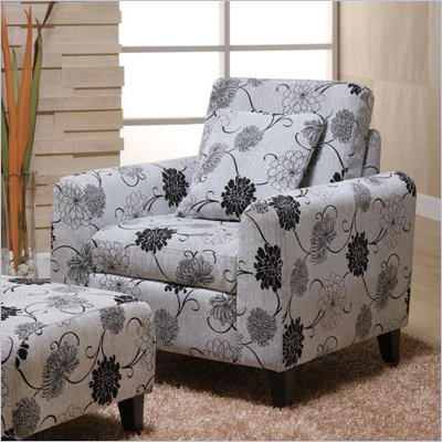 Armen Living Marietta Black & White Floral Pillow Back Club Chair