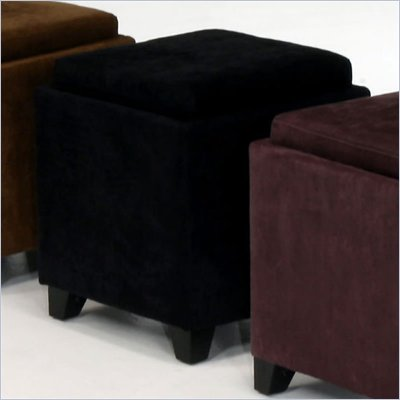 Armen Living Rainbow Micro Fiber Storage Ottoman in Black