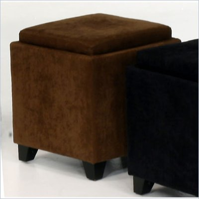 Armen Living Rainbow Micro Fiber Storage Ottoman in Brown