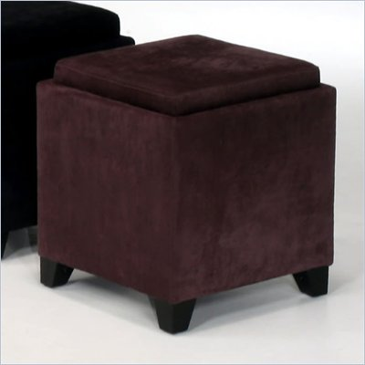 Armen Living Rainbow Micro Fiber Storage Ottoman in Eggplant