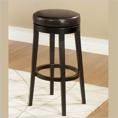 "Armen Living Brown 30"" High Round Backless Swivel Bar Stool"