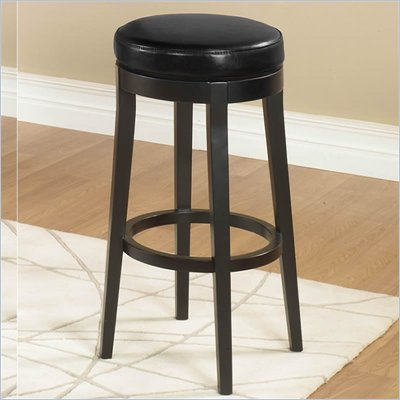 "Armen Living Black 30"" High Round Backless Swivel Bar Stool"