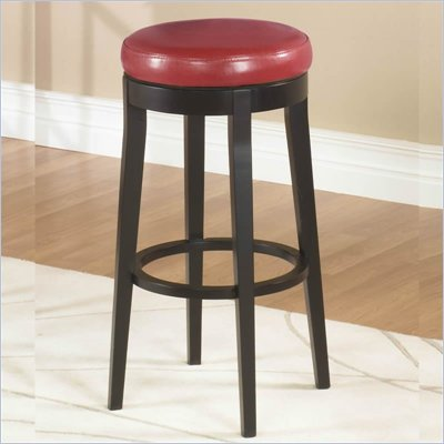 "Armen Living Red 30"" High Round Backless Swivel Bar Stool"