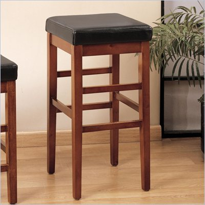 Armen Living Sonata 30&quot; High Brown Leather Backless Bar Stool