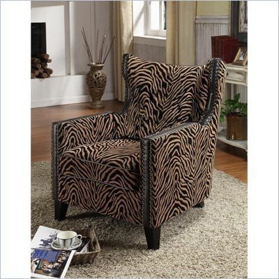 Armen Living Accent Chair in Tiger Chenille