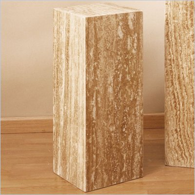 "Armen Living 24"" High Chocolate Travertine Pedestal"