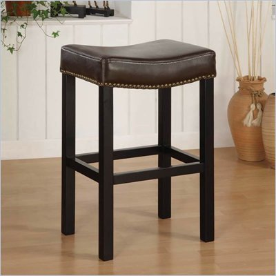 "Armen Living Tudor Backless 26"" Stationary Barstool in Brown Leather"
