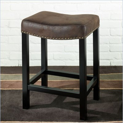 "Armen Living Tudor Backless 26"" Stationary Barstool in Wrangler Brown"