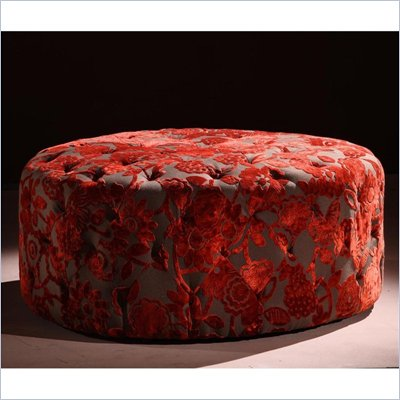 Armen Living Victoria Velvet Ottoman in Red