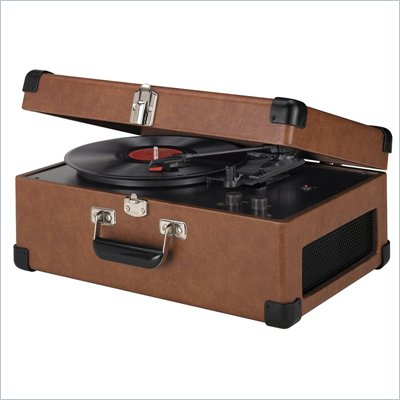 Crosley Radio Retro Portable Traveler Turntable With Stereo Speakers in Tan