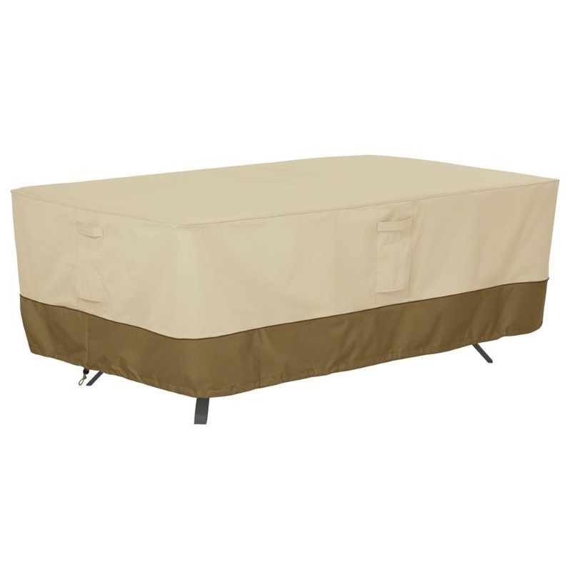 Classic Accessories Veranda 44 x 84 Oval Patio Table Cover in Beige