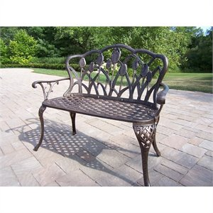 Oakland Living Tulip Cast Aluminum Loveseat in Antique Bronze
