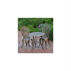 Oakland Living Mississippi 3 Piece Bistro Set in Antique Bronze