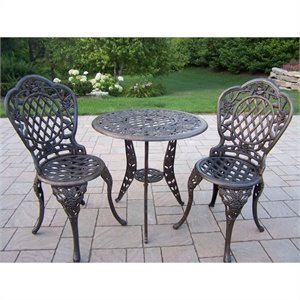 Oakland Living Tea Rose Cast Aluminium 3 Piece Set in Antique Bronze
