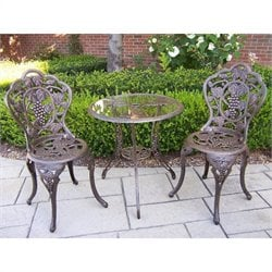 Oakland Living Vineyard Cast Aluminium 3 Piece Bistro Set