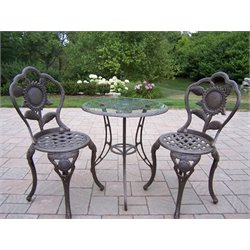 Oakland Living Sunflower Cast Aluminum 3 Piece Bistro Set in Antique Bronze