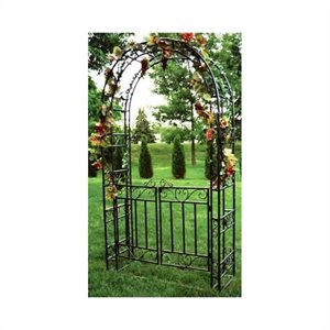 Oakland Living Arbor with Gate and Base in Hammer Tone Brown