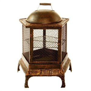 Oakland Living Pentagon Fire Pit Chimenea in Antique Bronze