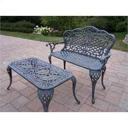 Oakland Living Mississippi Lattice Pattern 2 Piece Loveseat Set in Verdi Gray