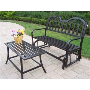 Oakland Living Rochester 2 Piece Glider Set in Hammer Tone Bronze