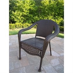 Oakland Living Elite Resin Wicker Chair in Coffee (Set of 4)