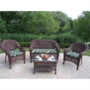 Oakland Living Resin Wicker 4 Piece Patio Set with Cushions in Coffee