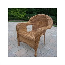 Oakland Living Resin Wicker Arm Chair in Natural (Set of 2)