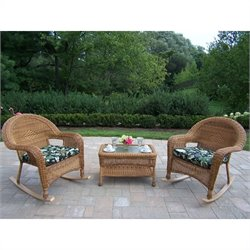 Oakland Living Resin Wicker 3 Piece Rocker and Coffee Table Set with Cushions