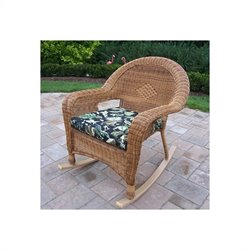 Oakland Living Resin Wicker Rocker with Cushion in Natural (Set of 2)