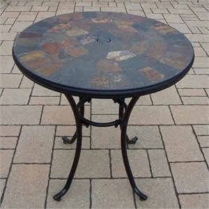 Oakland Living Stone Art Bistro Table in Black and Coffee