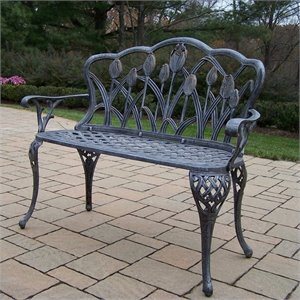 Oakland Living Tulip Cast Aluminum Loveseat Bench in Antique Pewter